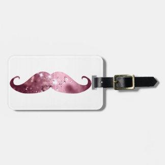 Bigote rosado divertido de Bling Etiquetas Maleta