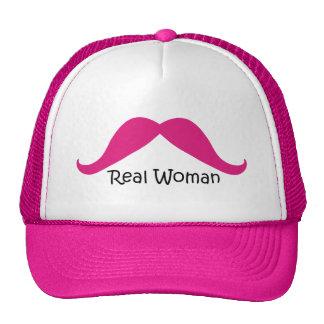 Bigote rosado y negro divertido de las mujeres rea gorra