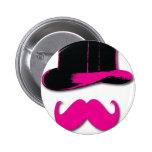 bigote, sombrero de copa, pajarita y perlas pins