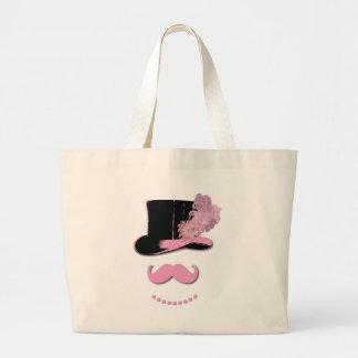 Bigote, sombrero de copa, plumas, y flor rosados bolsa lienzo
