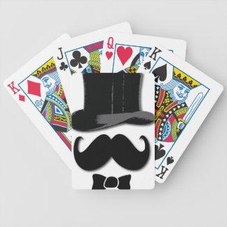 Bigote, sombrero de copa y pajarita baraja cartas de poker