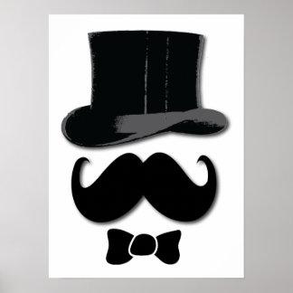Bigote, sombrero de copa y poster de la pajarita