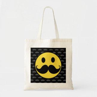 Bigote sonriente enrrollado retro del bigote bolsa tela barata
