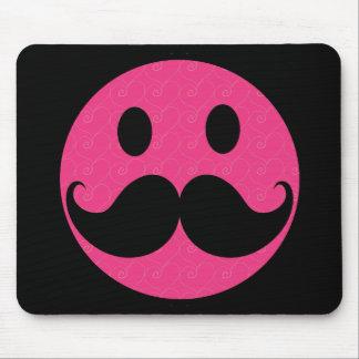 Bigote sonriente rosado Stache del bigote de la ca Alfombrilla De Ratón