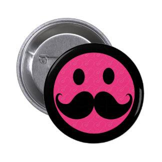 Bigote sonriente rosado Stache del bigote de la ca Pin Redondo De 2 Pulgadas