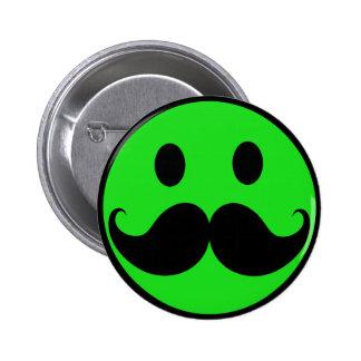 Bigote sonriente verde retro Stache del bigote Pin Redondo De 2 Pulgadas