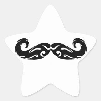 Bigote tribal pegatina en forma de estrella