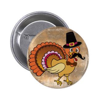 Bigote Turquía de la acción de gracias Pin Redondo 5 Cm