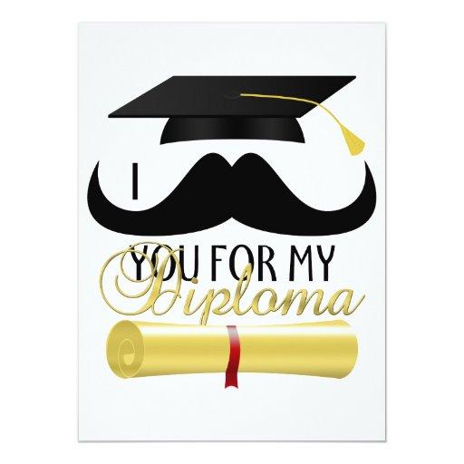 Bigote usted para mi invitación de la graduación