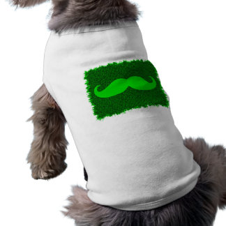 Bigote verde divertido playera sin mangas para perro
