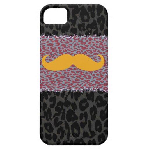 Bigote y estampado leopardo amarillos iPhone 5 carcasas