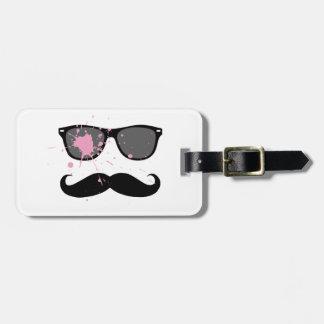 Bigote y gafas de sol divertidos etiquetas para maletas