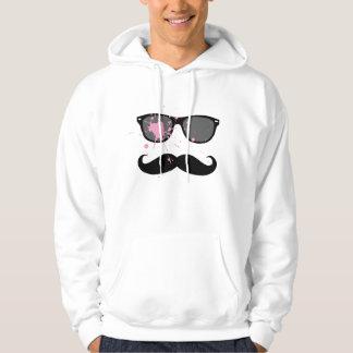 Bigote y gafas de sol divertidos pulóver con capucha