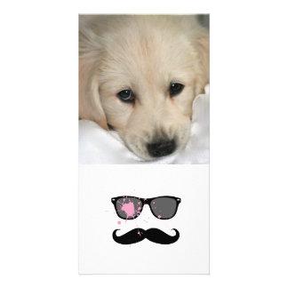 Bigote y gafas de sol divertidos tarjeta con foto personalizada
