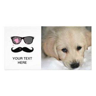 Bigote y gafas de sol divertidos tarjetas fotograficas personalizadas