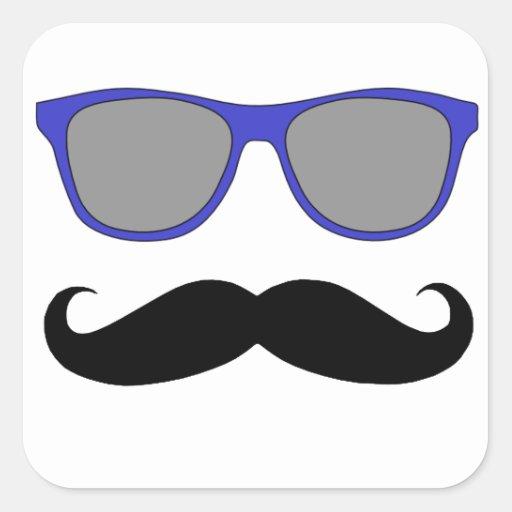 Bigote y humor azul de las gafas de sol calcomanías cuadradas