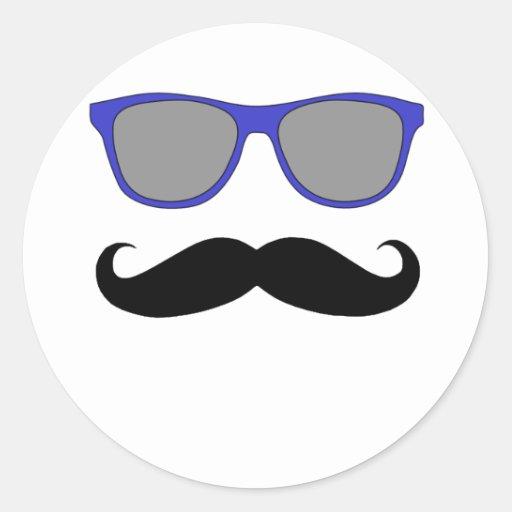 Bigote y humor azul de las gafas de sol etiqueta