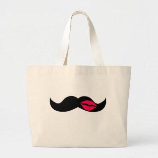 bigote y labios bolsa tela grande
