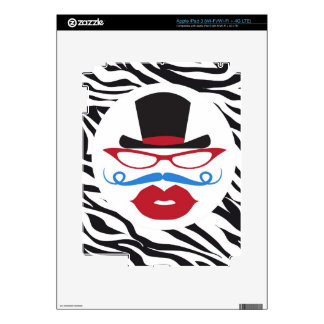 Bigote y labios de la diversión con el sombrero de iPad 3 pegatina skin