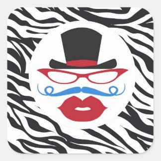 Bigote y labios de la diversión con el sombrero de pegatina cuadrada