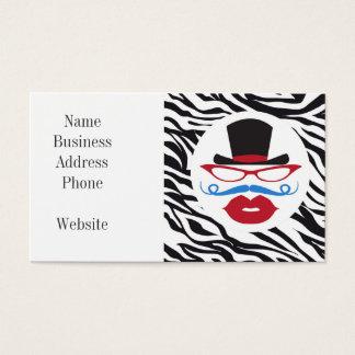 Bigote y labios de la diversión con el sombrero de tarjeta de negocios