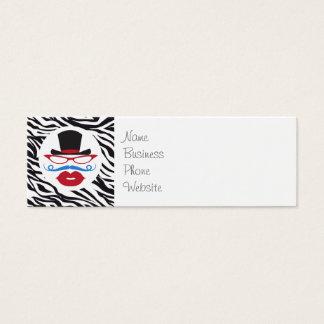 Bigote y labios de la diversión con el sombrero de tarjeta de visita pequeña