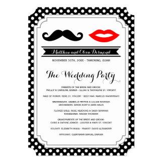 Bigote y labios que casan programas invitación 12,7 x 17,8 cm