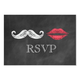 """Bigote y labios RSVP Invitación 3.5"""" X 5"""""""