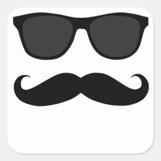 Bigote y regalo negros del humor de las gafas de pegatina cuadrada