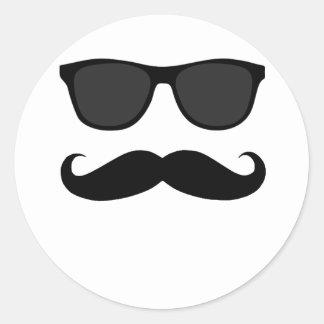 Bigote y regalo negros del humor de las gafas de pegatina redonda