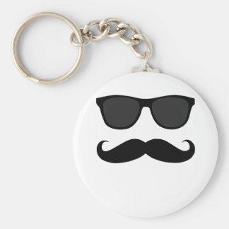 Bigote y regalo negros del humor de las gafas de s llavero redondo tipo pin