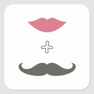 Bigote y sello elegantes del sobre de los labios calcomania cuadrada personalizada