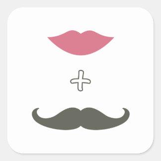Bigote y sello elegantes del sobre de los labios pegatina cuadrada