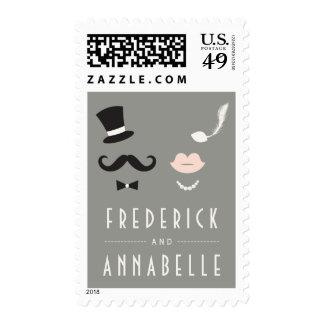 Bigote y Sr. y señora Wedding Stamps del vintage Sello