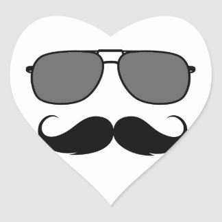 bigote y vidrios pegatinas de corazon personalizadas