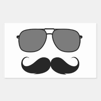 bigote y vidrios pegatina rectangular