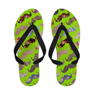 Bigotes aztecas florales de neón de la verde lima sandalias de playa