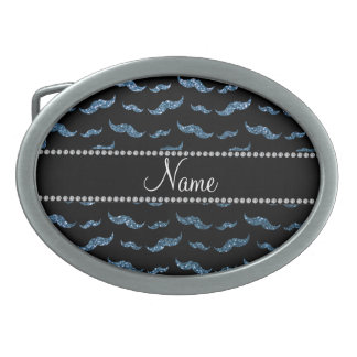 Bigotes azules brumosos conocidos personalizados d hebilla cinturon oval