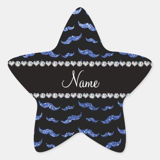 Bigotes azules conocidos personalizados del brillo pegatina en forma de estrella