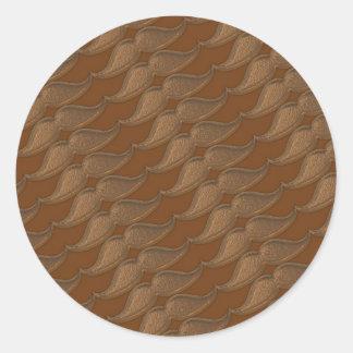 Bigotes de bronce del metal pegatina redonda