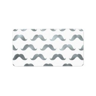 Bigotes metálicos hoja de plata del bigote de la etiqueta de dirección