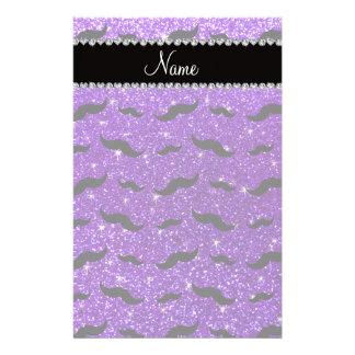 Bigotes púrpuras del negro del brillo del añil papelería personalizada