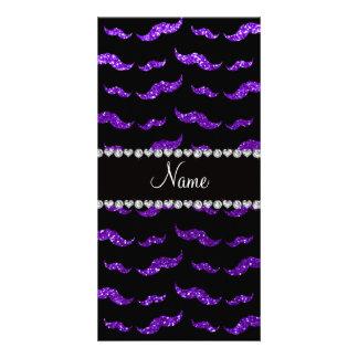 Bigotes púrpuras personalizados del brillo del añi tarjeta personal con foto