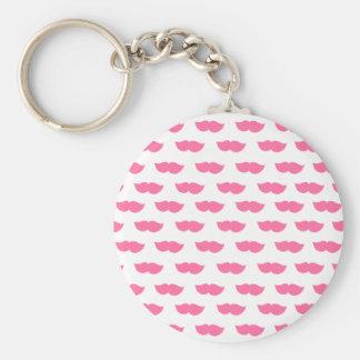 Bigotes rosados llavero redondo tipo pin