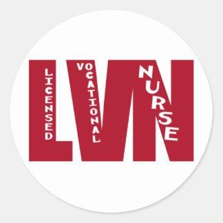 BigRed LVN - LICENSED VOCATIONAL NURSE Classic Round Sticker