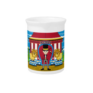 Bigtop Circus Ringmaster and Lions Drink Pitcher