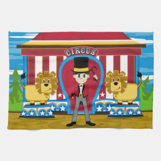 Bigtop Circus Ringmaster and Lions Kitchen Towel