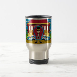 Bigtop Circus Ringmaster and Lions 15 Oz Stainless Steel Travel Mug