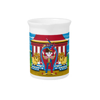 Bigtop Juggling Circus Clown and Lions Drink Pitcher
