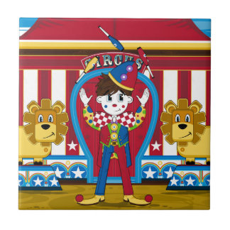 Bigtop Juggling Circus Clown and Lions Tile